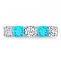 Cushion Blue & White Diamond Five Stone Ring 14k White Gold (2.50ct)