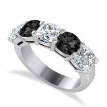 Cushion Black & White Diamond Five Stone Ring 14k White Gold (2.50ct)