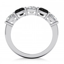 Cushion Black & White Diamond Five Stone Ring 14k White Gold (2.50ct)|escape