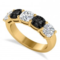 Cushion Black & White Diamond Five Stone Ring 14k Yellow Gold (2.50ct)