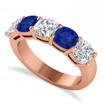 Cushion Diamond & Blue Sapphire Five Stone Ring 14k Rose Gold (2.70ct)