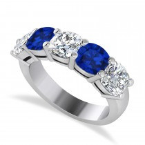 Cushion Diamond & Blue Sapphire Five Stone Ring 14k White Gold (2.70ct)