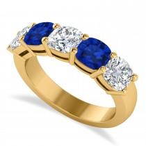 Cushion Diamond & Blue Sapphire Five Stone Ring 14k Yellow Gold (2.70ct)