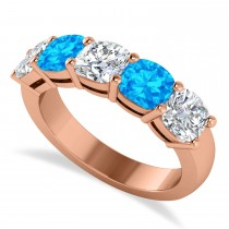 Cushion Diamond & Blue Topaz Five Stone Ring 14k Rose Gold (2.70ct)