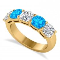 Cushion Diamond & Blue Topaz Five Stone Ring 14k Yellow Gold (2.70ct)