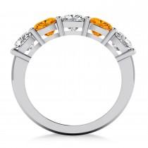 Cushion Diamond & Citrine Five Stone Ring 14k White Gold (2.70ct)