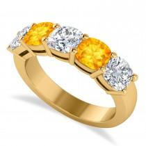 Cushion Diamond & Citrine Five Stone Ring 14k Yellow Gold (2.70ct)