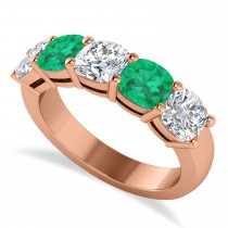 Cushion Diamond & Emerald Five Stone Ring 14k Rose Gold (2.70ct)