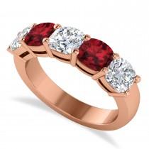 Cushion Diamond & Garnet Five Stone Ring 14k Rose Gold (2.70ct)