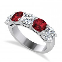 Cushion Diamond & Garnet Five Stone Ring 14k White Gold (2.70ct)