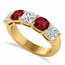 Cushion Diamond & Garnet Five Stone Ring 14k Yellow Gold (2.70ct)