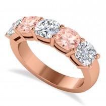 Cushion Diamond & Morganite Five Stone Ring 14k Rose Gold (2.70ct)