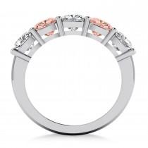 Cushion Diamond & Morganite Five Stone Ring 14k White Gold (2.70ct)|escape