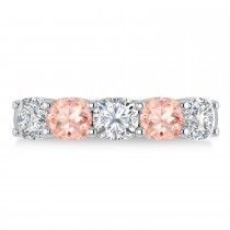 Cushion Diamond & Morganite Five Stone Ring 14k White Gold (2.70ct)