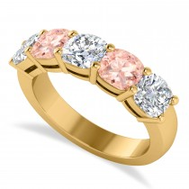 Cushion Diamond & Morganite Five Stone Ring 14k Yellow Gold (2.70ct)