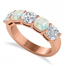 Cushion Diamond & Opal Five Stone Ring 14k Rose Gold (2.70ct)