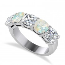 Cushion Diamond & Opal Five Stone Ring 14k White Gold (2.70ct)