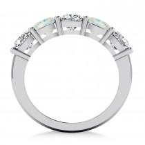 Cushion Diamond & Opal Five Stone Ring 14k White Gold (2.70ct)