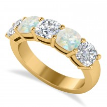 Cushion Diamond & Opal Five Stone Ring 14k Yellow Gold (2.70ct)