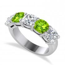 Cushion Diamond & Peridot Five Stone Ring 14k White Gold (2.70ct)