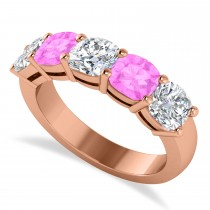 Cushion Diamond & Pink Sapphire Five Stone Ring 14k Rose Gold (2.70ct)