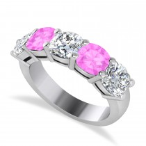 Cushion Diamond & Pink Sapphire Five Stone Ring 14k White Gold (2.70ct)