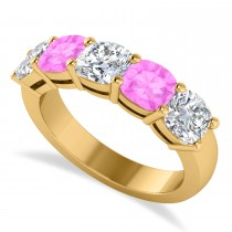Cushion Diamond & Pink Sapphire Five Stone Ring 14k Yellow Gold (2.70ct)