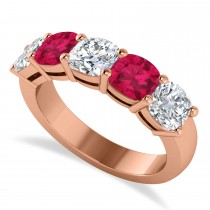 Cushion Diamond & Ruby Five Stone Ring 14k Rose Gold (2.70ct)
