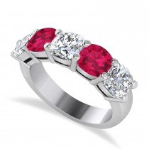Cushion Diamond & Ruby Five Stone Ring 14k White Gold (2.70ct)