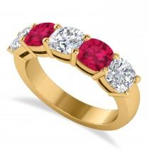 Cushion Diamond & Ruby Five Stone Ring 14k Yellow Gold (2.70ct)