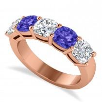 Cushion Diamond & Tanzanite Five Stone Ring 14k Rose Gold (2.70ct)