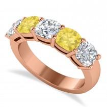 Cushion Yellow & White Diamond Five Stone Ring 14k Rose Gold (2.50ct)