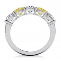 Cushion Yellow & White Diamond Five Stone Ring 14k White Gold (2.50ct)|escape