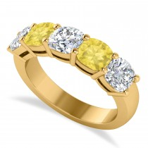 Cushion Yellow & White Diamond Five Stone Ring 14k Yellow Gold (2.50ct)
