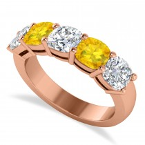 Cushion Diamond & Yellow Sapphire Five Stone Ring 14k Rose Gold (2.70ct)