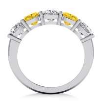Cushion Diamond & Yellow Sapphire Five Stone Ring 14k White Gold (2.70ct)