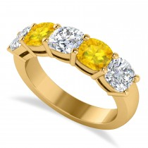 Cushion Diamond & Yellow Sapphire Five Stone Ring 14k Yellow Gold (2.70ct)