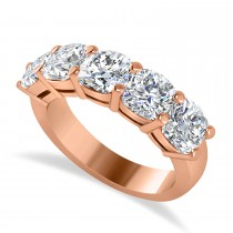 Cushion Diamond Five Stone Wedding Band 14k Rose Gold (3.75ct)