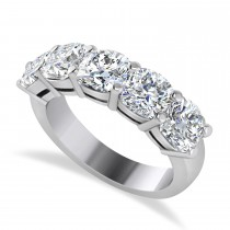 Cushion Diamond Five Stone Wedding Band 14k White Gold (3.75ct)