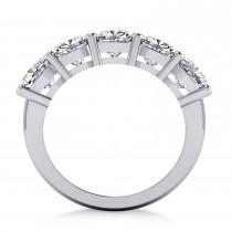 Cushion Diamond Five Stone Wedding Band 14k White Gold (3.75ct)