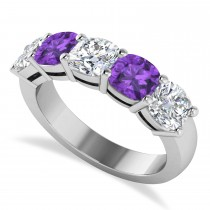 Cushion Diamond & Amethyst Five Stone Ring 14k White Gold (4.05ct)