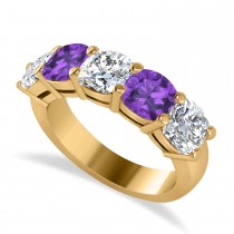 Cushion Diamond & Amethyst Five Stone Ring 14k Yellow Gold (4.05ct)
