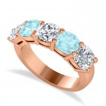 Cushion Diamond & Aquamarine Five Stone Ring 14k Rose Gold (4.05ct)