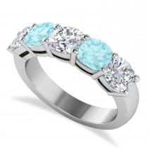 Cushion Diamond & Aquamarine Five Stone Ring 14k White Gold (4.05ct)