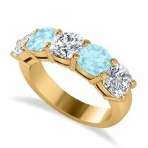 Cushion Diamond & Aquamarine Five Stone Ring 14k Yellow Gold (4.05ct)
