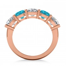 Cushion Blue & White Diamond Five Stone Ring 14k Rose Gold (3.75ct)|escape