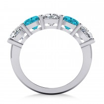 Cushion Blue & White Diamond Five Stone Ring 14k White Gold (3.75ct)