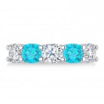 Cushion Blue & White Diamond Five Stone Ring 14k White Gold (3.75ct)