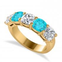 Cushion Blue & White Diamond Five Stone Ring 14k Yellow Gold (3.75ct)