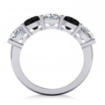 Cushion Black & White Diamond Five Stone Ring 14k White Gold (3.75ct)|escape